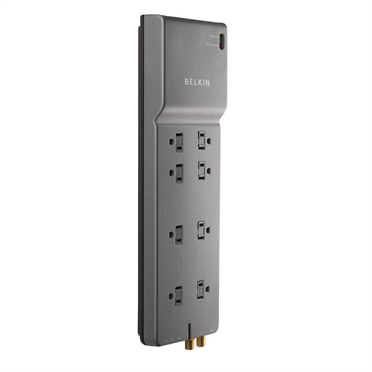 8 outlet homeoffice surge protector with coaxial protection belkin office