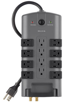 PivotPlug 12-Outlet Surge Protector with 8-foot Power Cord with Cable/Satellite and Telephone Protection