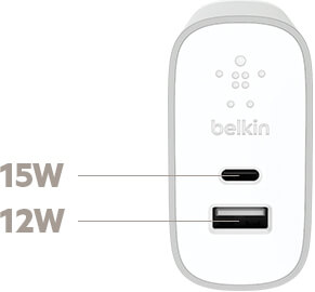 BELKIN WATT OUTPUT FOR USB-C + USB-A HOME CHARGER AND CABLE