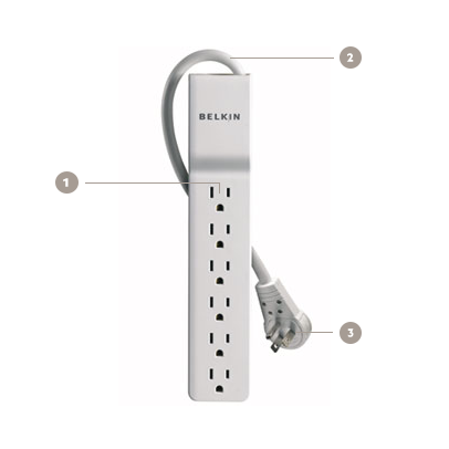 Belkin 6-Outlet Commercial Surge Protector with Rotating Plug and 8 Foot Cord - Diagram
