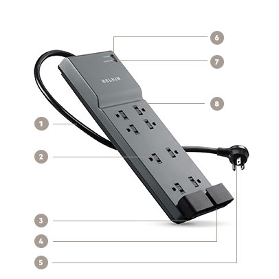 Belkin 8-Outlet Home/Office Surge Protector with Telephone Protection - Diagram