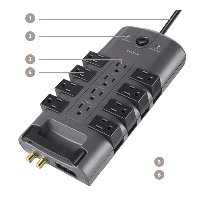 Belkin 12-Outlet Pivot-Plug Surge Protector with 8 Foot Cord - Diagram