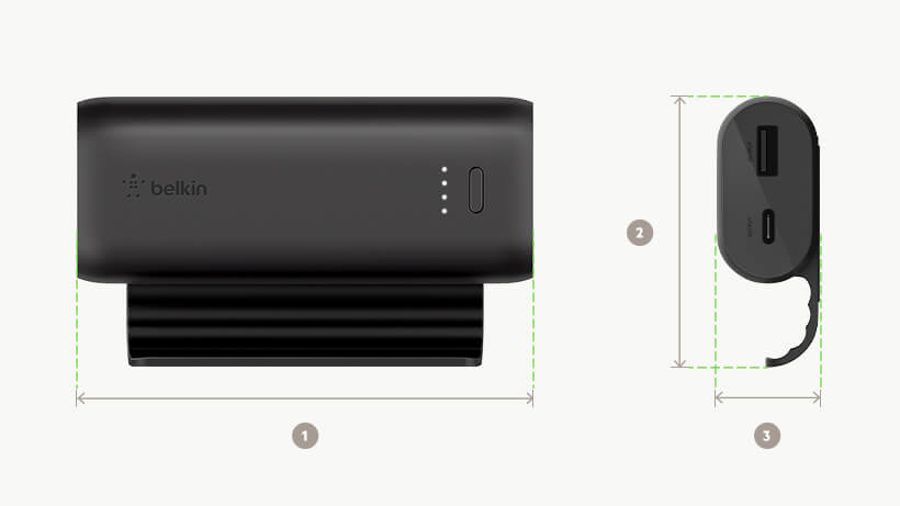 Belkin BOOST↑CHARGE Power Bank dimensions diagram