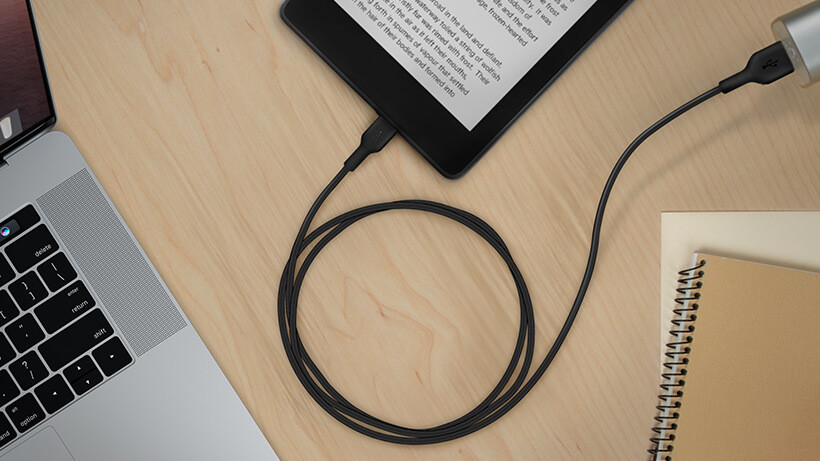 BOOST↑CHARGE USB-A to Micro-USB Cable charging a tablet