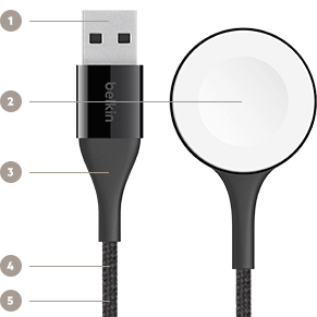 MIXIT↑™ DuraTek™ Apple Watch Charge Cable Key Features