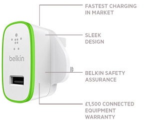 Charger for iPhone 5 | Fastest Charging in Market | Sleek Design | Belkin Safety Assurance | £1,500 Connected Equipment Warranty