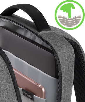 Padded back panel keeps items in the bag from pressing uncomfortably against your back