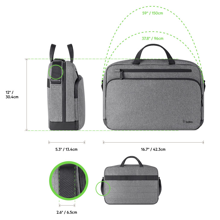 Belkin Classic Pro Messenger Backpack diagram