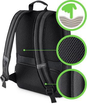 Adjustable mesh padded strap offers added comfort and support during commutes.