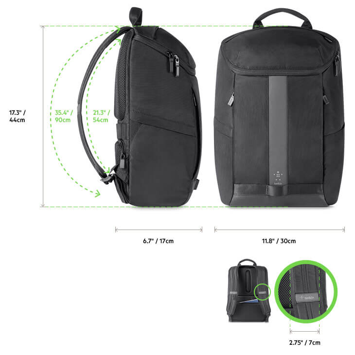 Belkin Active Pro Backpack diagram