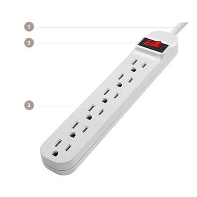 Belkin 6-Outlet Power Strip, 3 ft. cord - Diagram