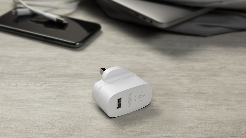 BOOST↑CHARGE USB-A Wall Charger placed on a table