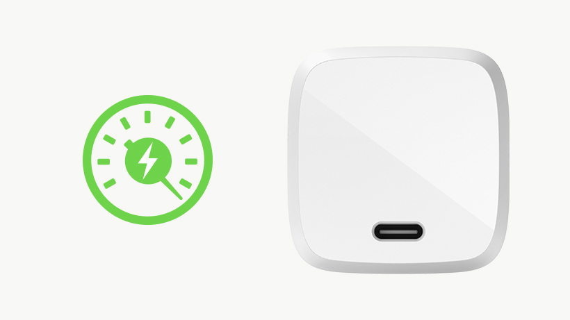 BOOST↑CHARGE USB-C GaN Wall Charger with a charging time icon