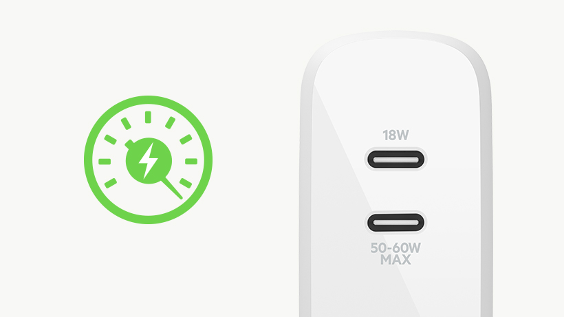 BOOST↑CHARGE Dual USB-C GaN Wall Charger 63W with a speedometer