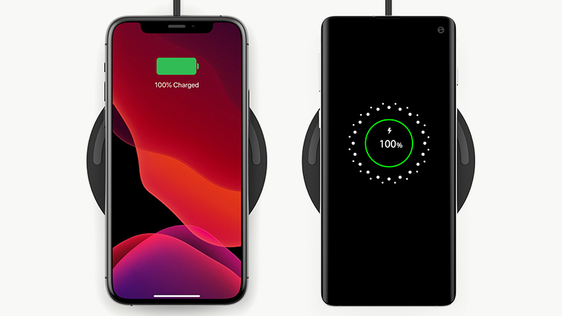Apple and Samsung smartphones fully charged on the BOOST↑CHARGE Wireless Charging Pad
