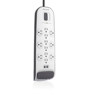12-outlet Surge Protector with 8 ft Power Cord and Ethernet, Cable/Satellite and Telephone Protection -$ HeroImage