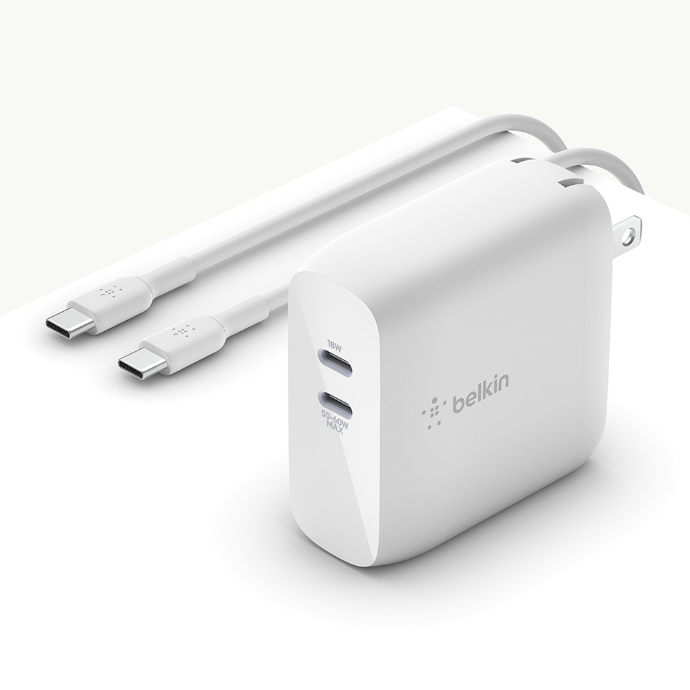 BOOST↑CHARGE™ Dual USB-C GaN Wall Charger 68W​ + USB-C Cable - HeroImage