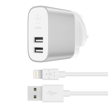 BOOST↑CHARGE™ 2-Port Home Charger + Lightning to USB-A Cable -$ HeroImage