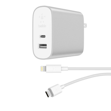 BOOST↑CHARGE™ 18W USB-C™ + 12W USB-A Home Charger + USB-C Cable with Lightning Connector -$ HeroImage