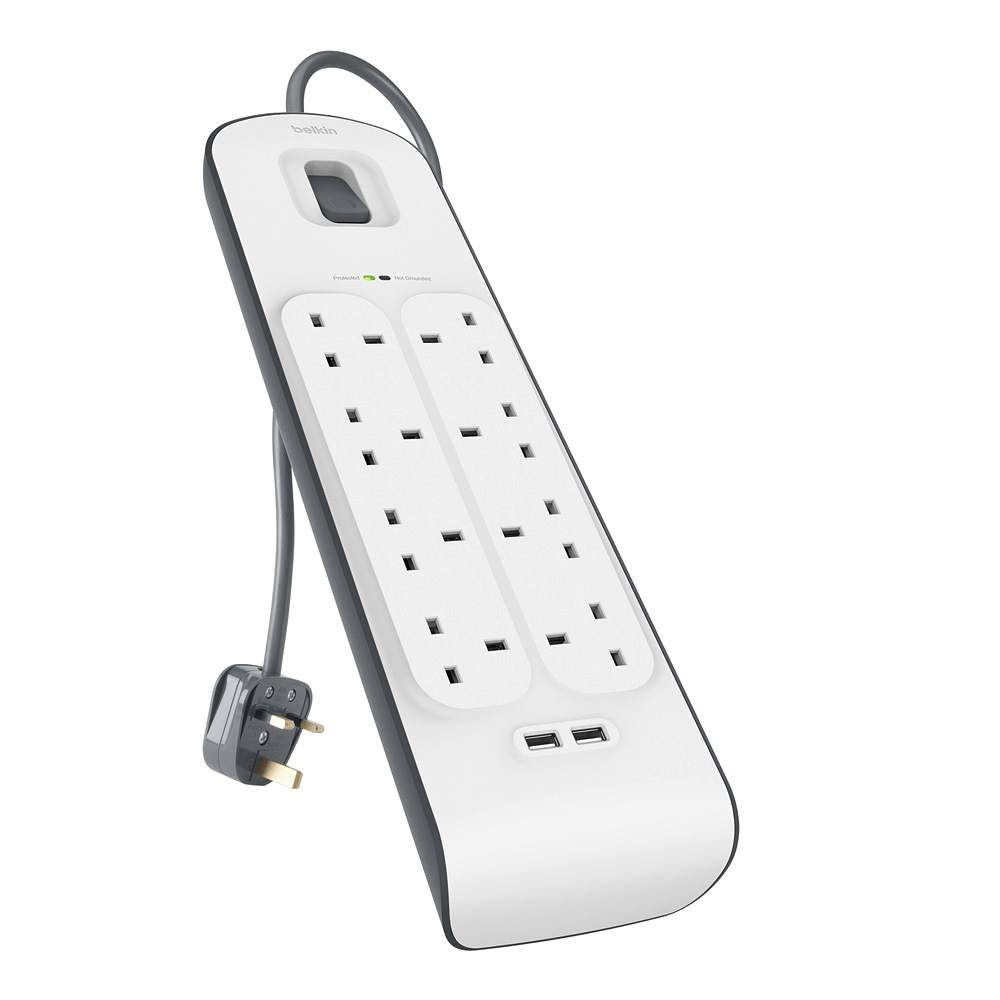 Extension LEAD 3 Way Protection Contact//Socket Strip with 2 USB 5m White