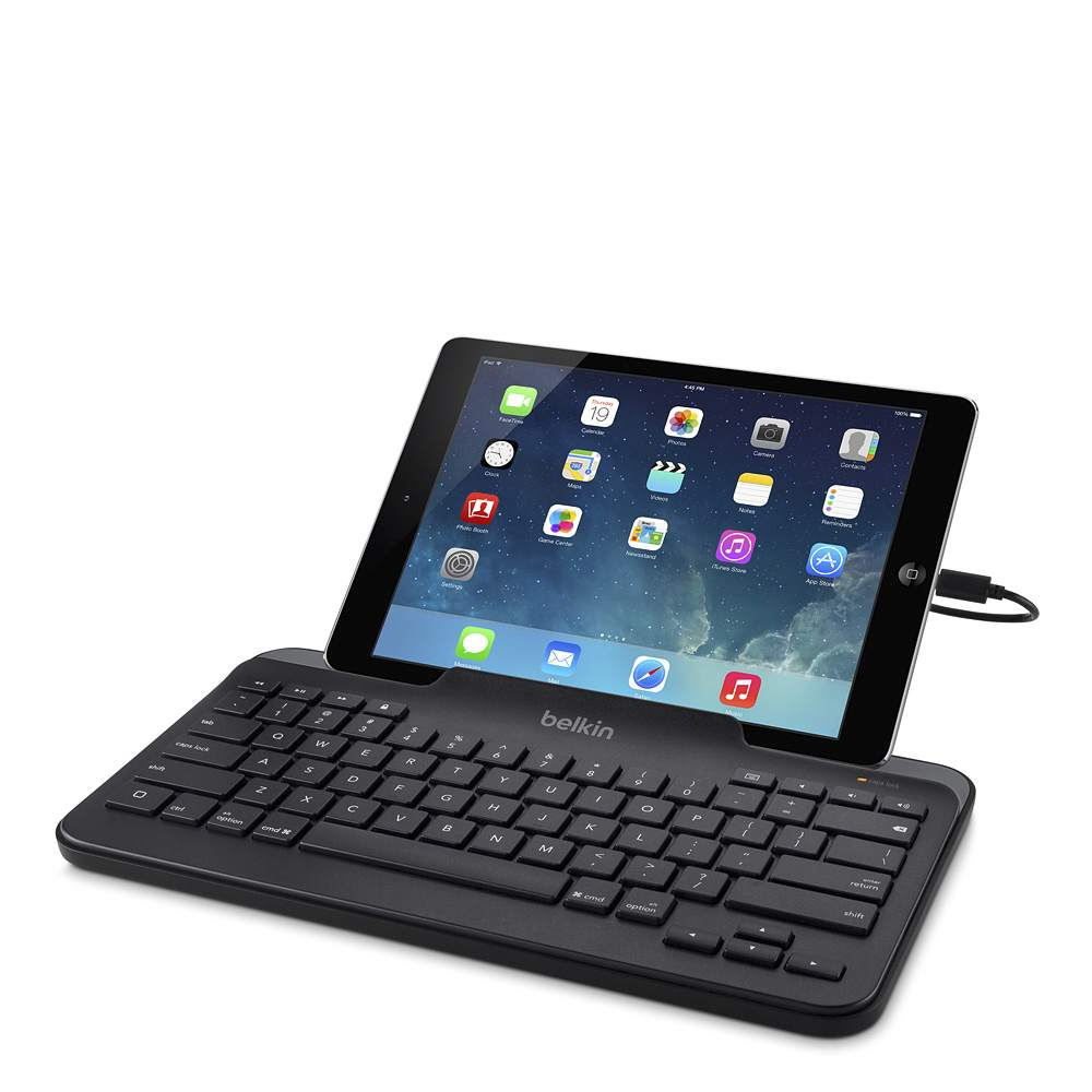 belkin wired tablet keyboard w stand for ipad lightning connector. Black Bedroom Furniture Sets. Home Design Ideas