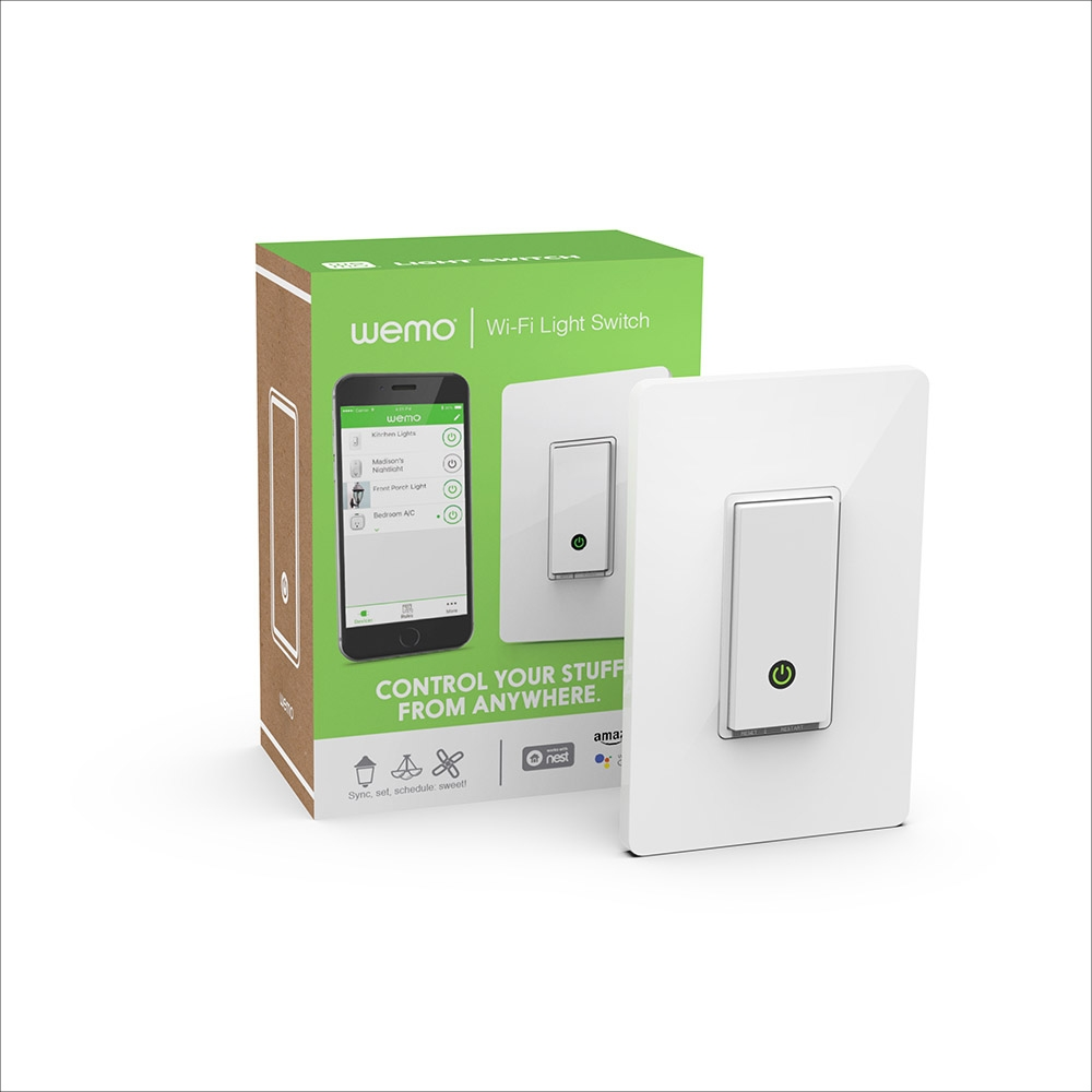 Wemo Wi Fi Smart Light Switch 1 Gang 4 Way Frontviewimage