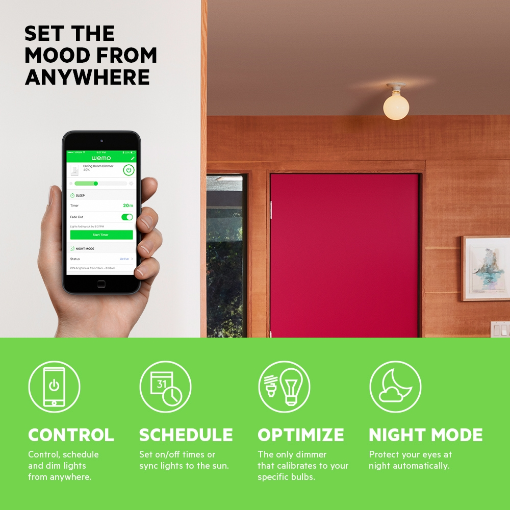 Wemo Wifi Smart Dimmer 110v 220v Light Circuit With Active Reset