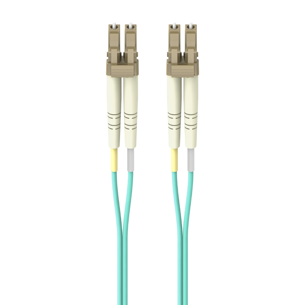 Fiber Optic Cable; 10GB Aqua Multimode LC/LC Duplex MMF, 50/125