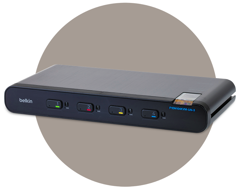 Angled view of secure kvm switch