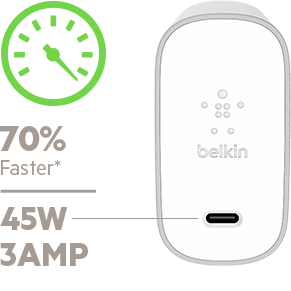 BELKIN 45W USB-C CHARGER FOR MULTIPLE DEVICES 70 PERCENT FASTER