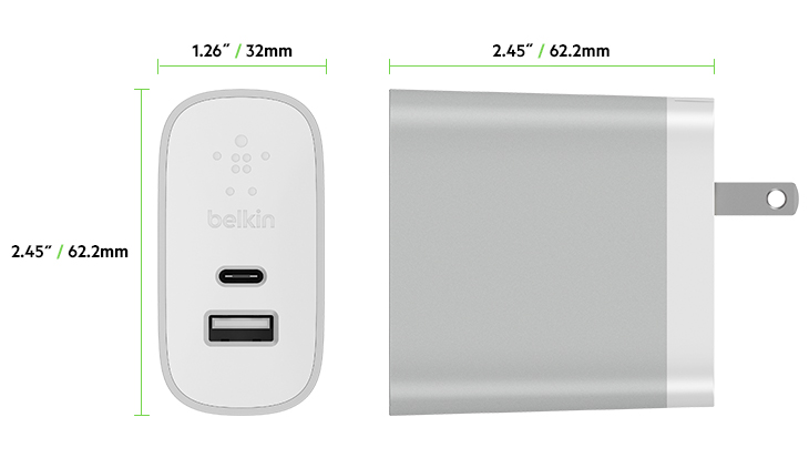 dimensions for Belkin USB-C USB-A Charger