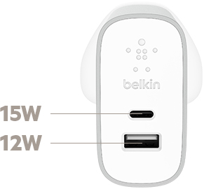 The charger's 27 Watt total output is split between the USB-C port and the USB-A port