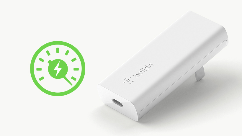 For powering up at home or on the go, our GaN Wall Charger provides up to 18 or 20-watts of fast charging for USB-C PD-enabled devices.