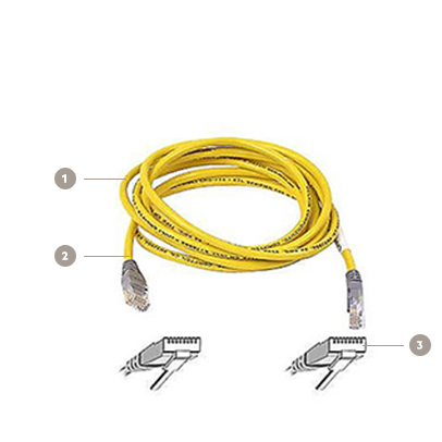 Belkin CAT5e Crossover Patch Cable, RJ45, 7ft./25ft., Yellow - Diagram