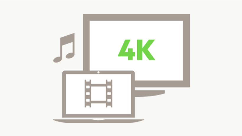 Illustration of a TV and laptop with 4K video
