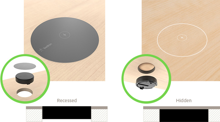 BOOST↑UP Wireless Charging Spot recessed vs hidden installation