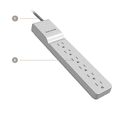 Belkin 6-Outlet Commercial Surge Protector with plug and 6 Foot Cord - Diagram