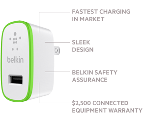 Charger for iPhone 5 | Fastest Charging in Market | Sleek Design | Belkin Safety Assurance | $2,500 Connected Equipment Warranty