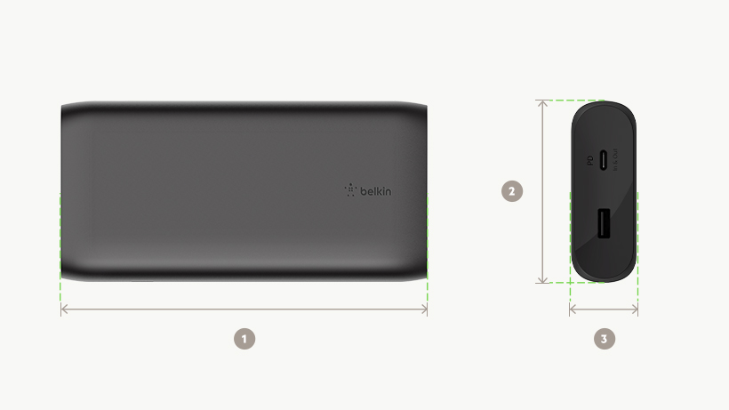 BOOST↑CHARGE 20,000 mAh USB-C 移动电源尺寸图