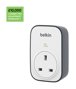 Belkin BSV102 SurgeCube 1 Outlet Surge Protector, £10 000 Connected Equipment Warranty
