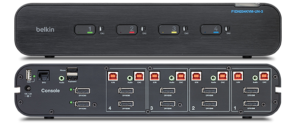 Parte frontal y trasera del switch KVM