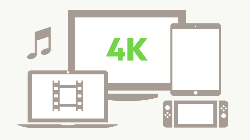 Illustration of 4k TV, laptop with video, audio, a tablet and gaming console