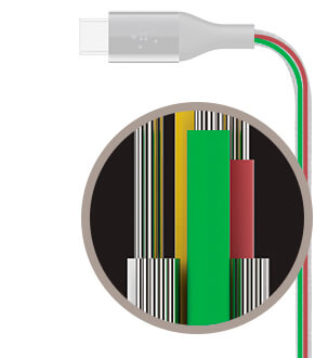 Flexible insulation protects the wires inside the cable