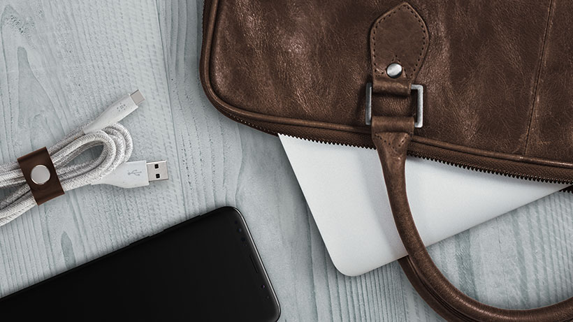 Belkin DuraTek™ Plus USB-C™ to USB-A Cable with Strap on a desk