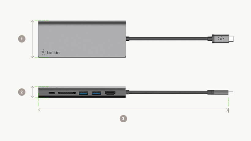 Belkin USB-C™ Multimedia Hub dimensions diagram