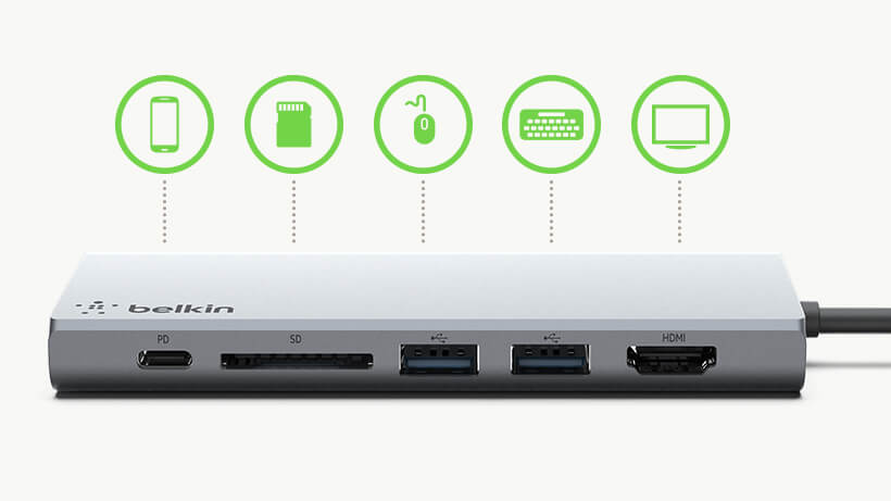 Ports on the Belkin USB-C™ Multimedia Hub