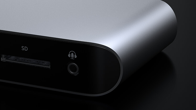 Close-up of aluminum casing