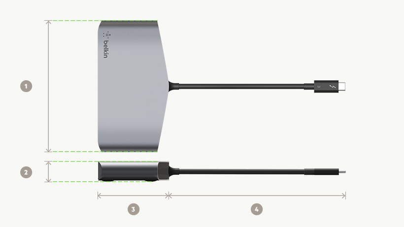 Belkin Thunderbolt™ 3 Mini Dock HD dimensions diagram