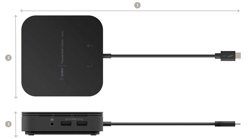 Thunderbolt 3 Dock Core dimensions diagram