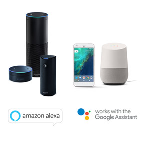 Works with Amazon Alexa and Google Home